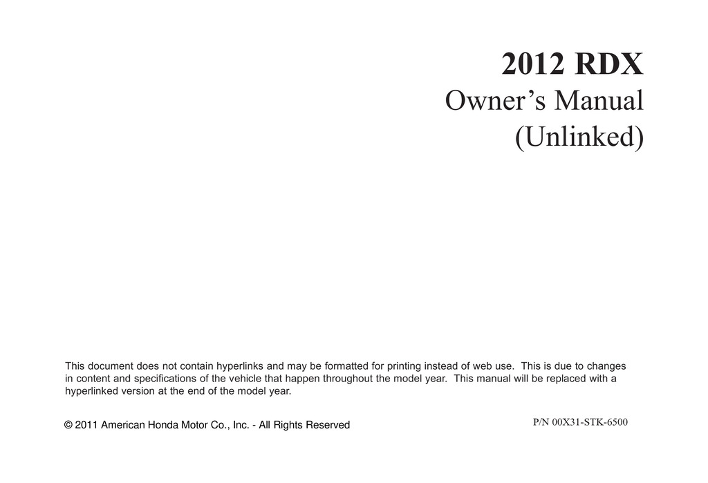 2012 Acura Rdx owners manual