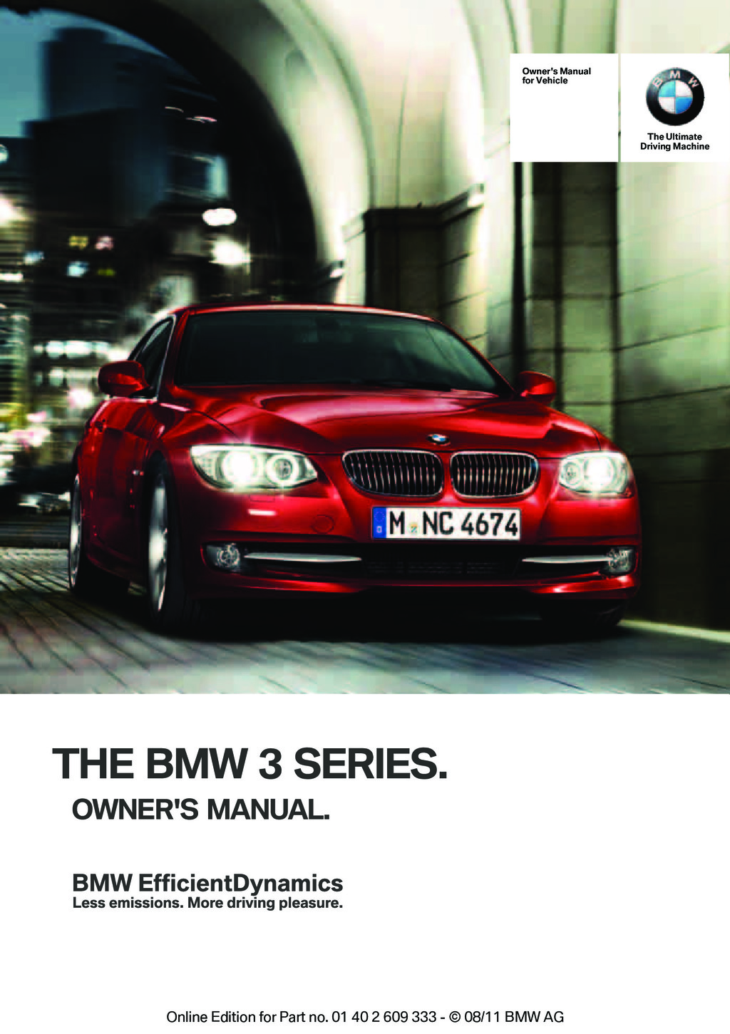 2012 BMW 3 Series M3 owners manual