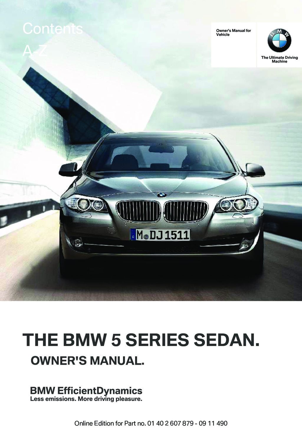 2012 BMW 5 Series owners manual