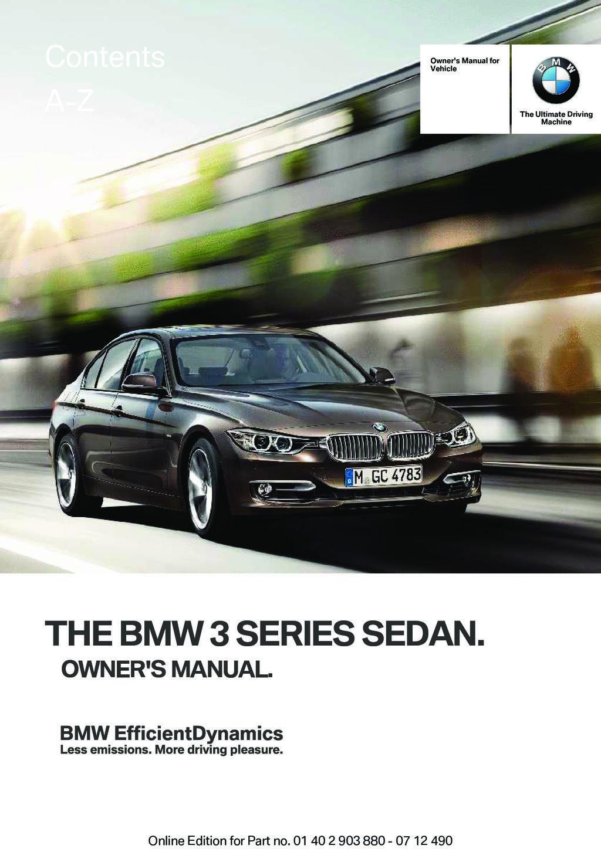 2013 BMW 3 Series Sedan owners manual