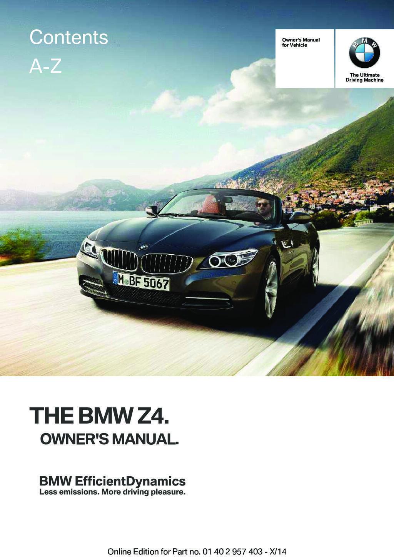 2016 BMW Z4 owners manual