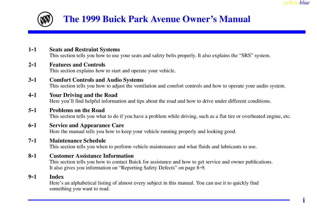 1999 Buick Park Avenue owners manual