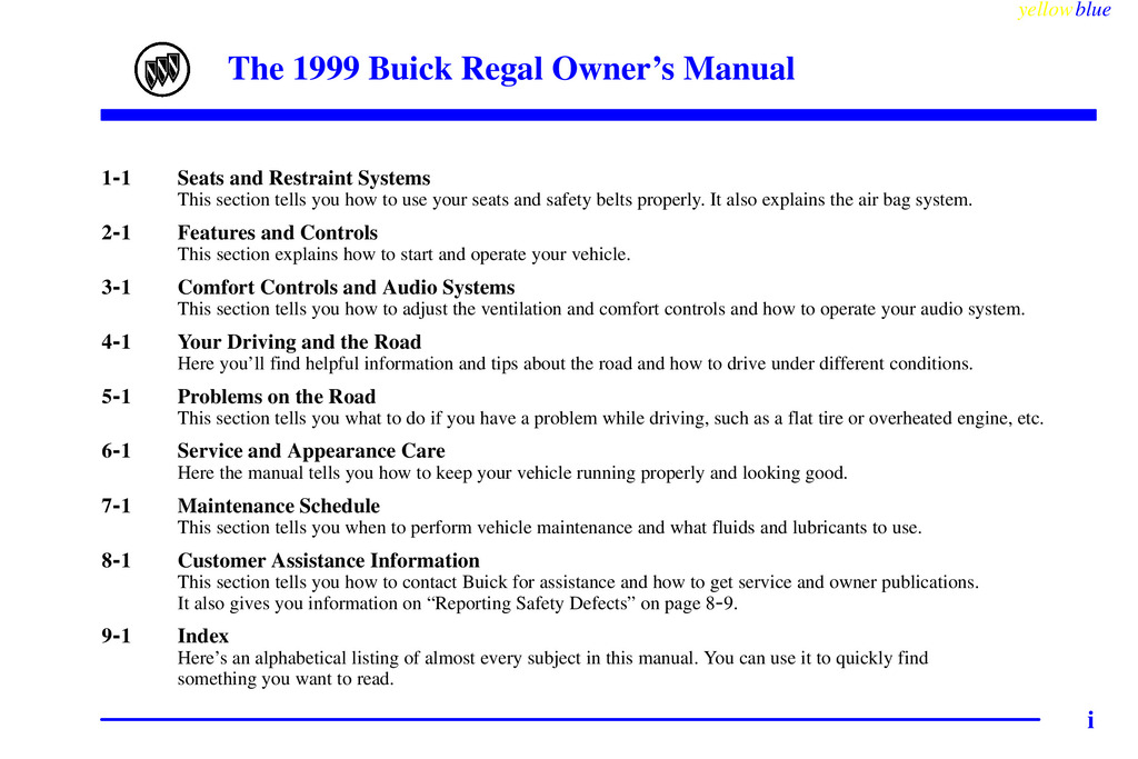1999 Buick Regal owners manual