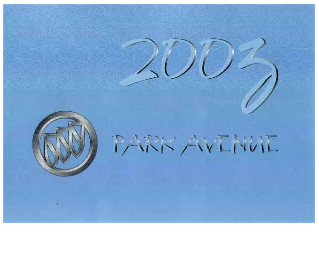 2003 Buick Park Avenue owners manual