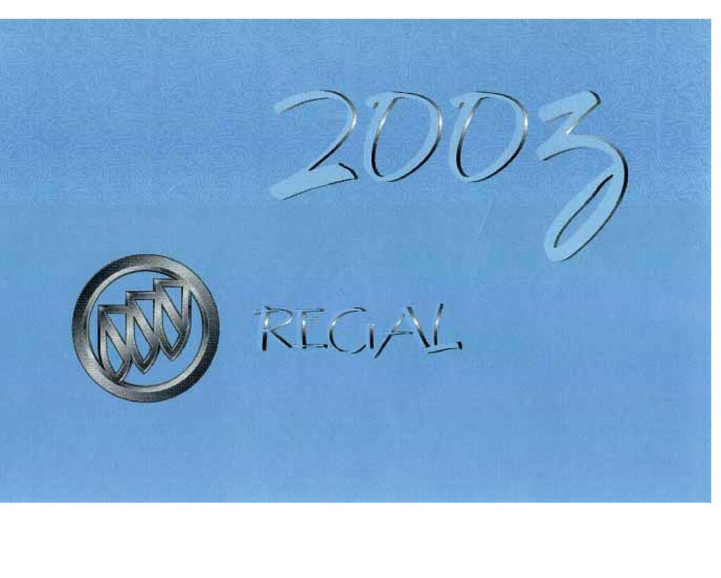2003 Buick Regal owners manual