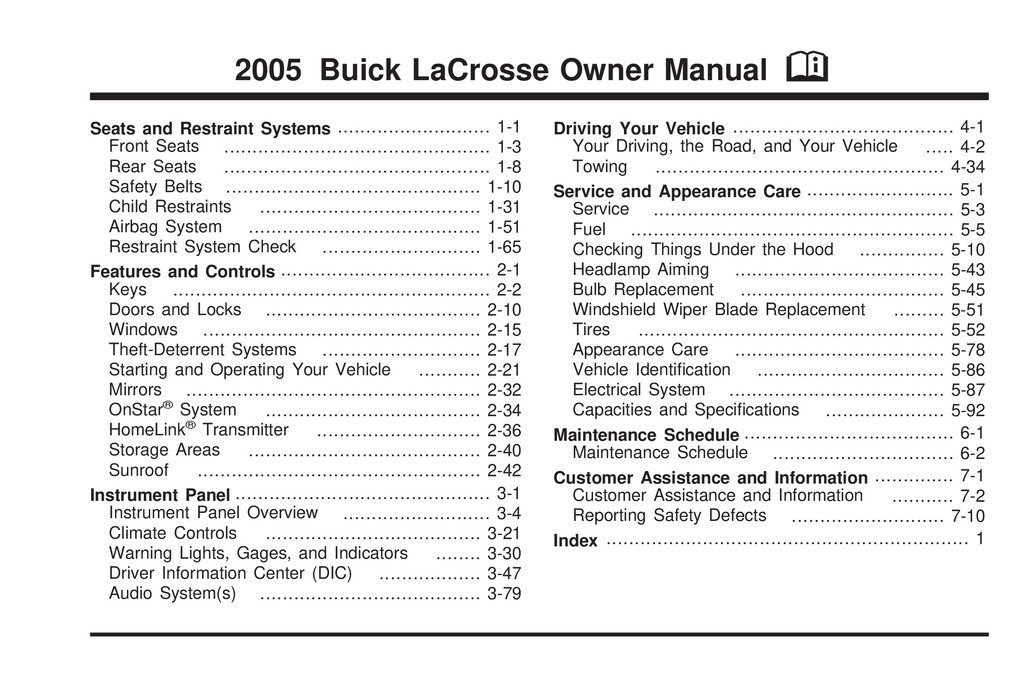 2005 Buick Lacrosse owners manual