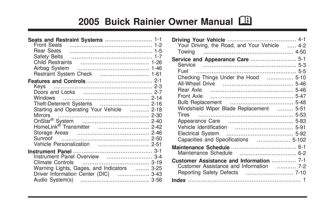 2005 Buick Rainier owners manual