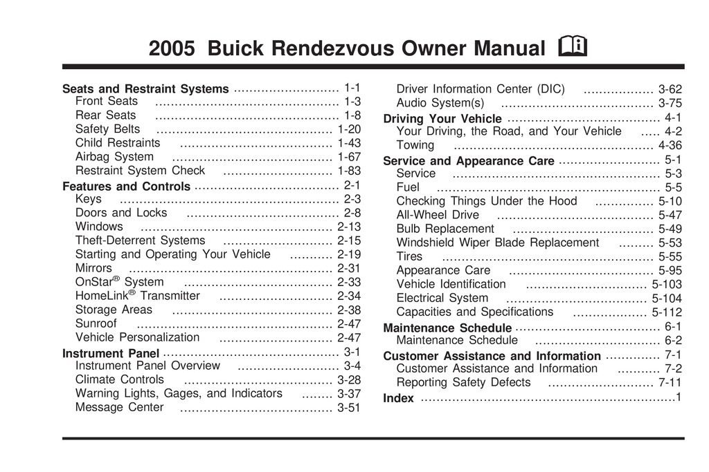 2005 Buick Rendezvous owners manual
