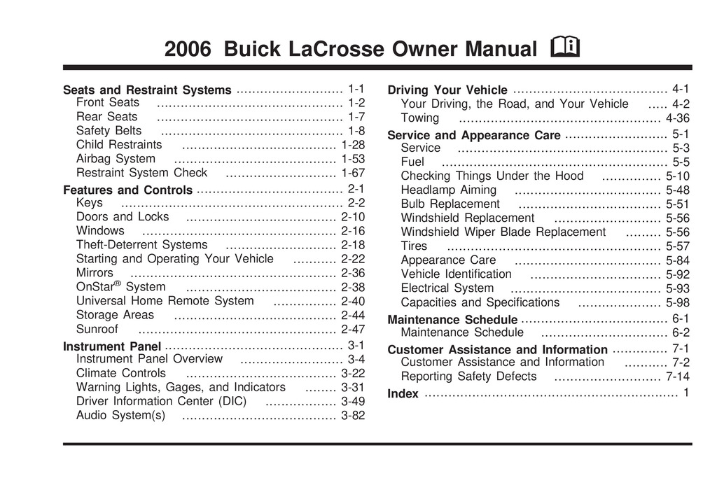 2006 Buick Lacrosse owners manual