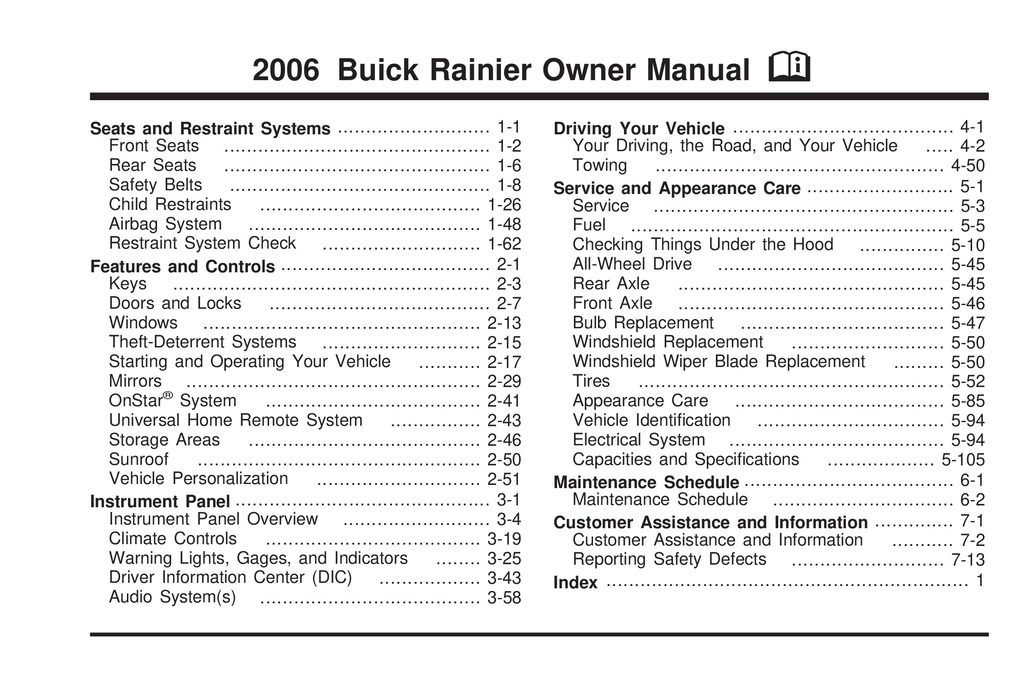 2006 Buick Rainier owners manual