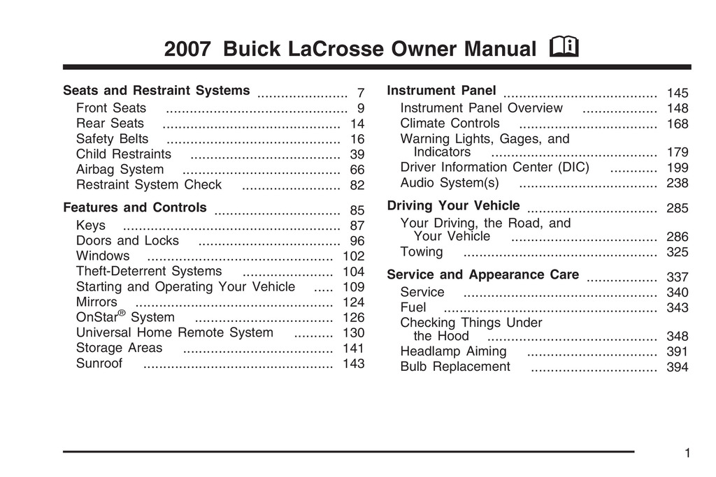 2007 Buick Lacrosse owners manual