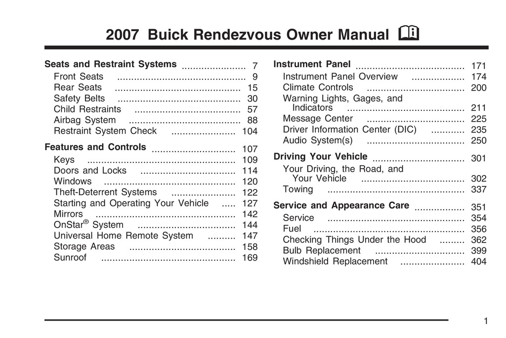 2007 Buick Rendezvous owners manual