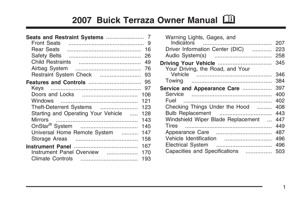 2007 Buick Terraza owners manual