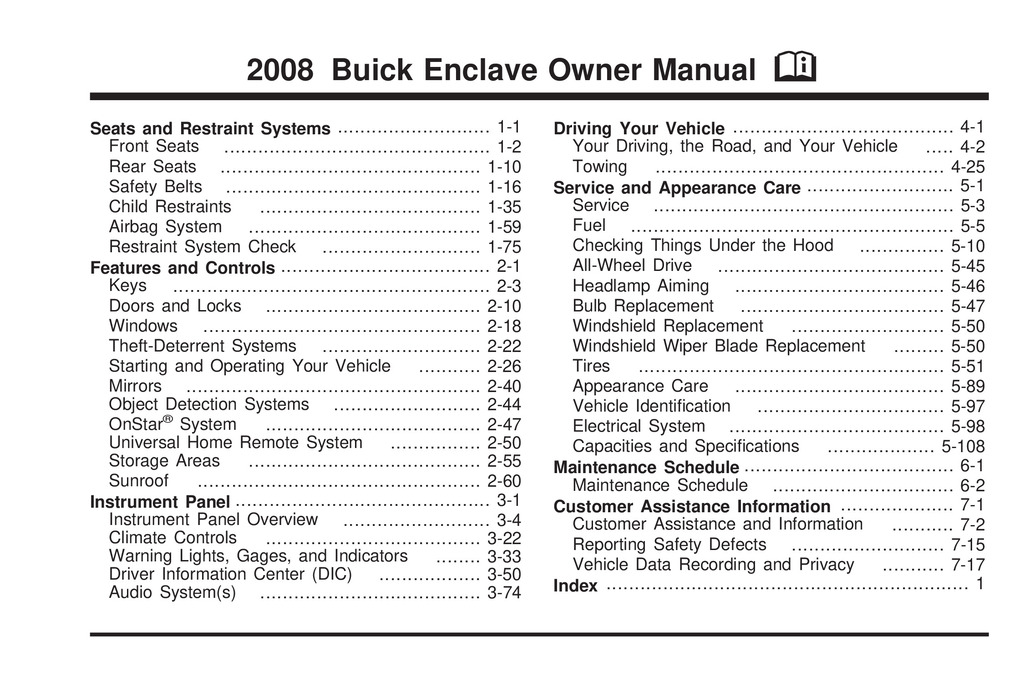 2008 Buick Enclave owners manual