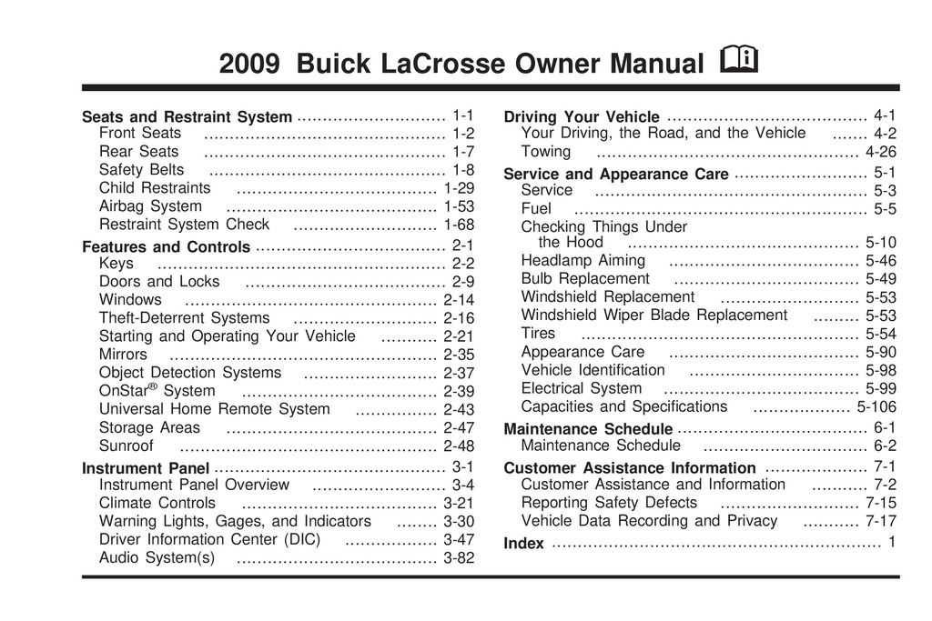2009 Buick Lacrosse owners manual