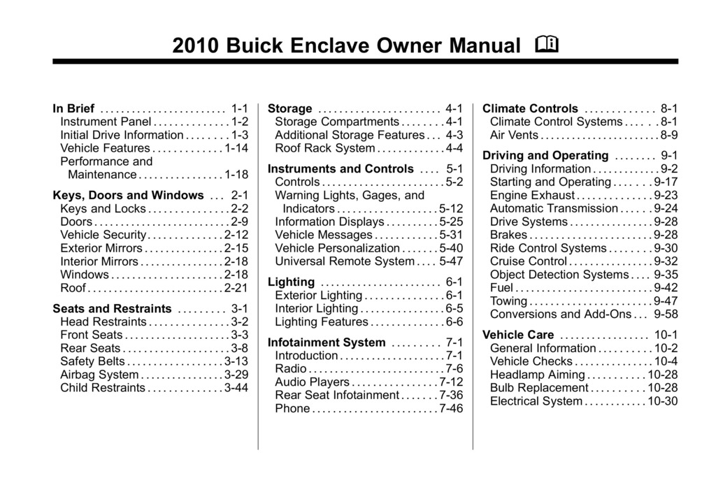 2010 Buick Enclave owners manual