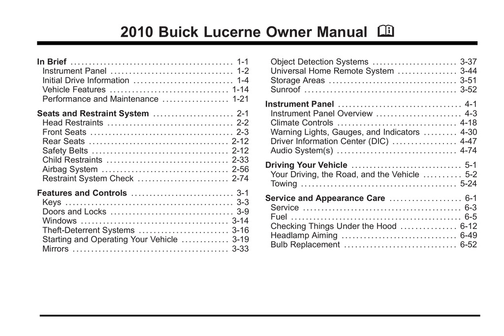 2010 Buick Lucerne owners manual