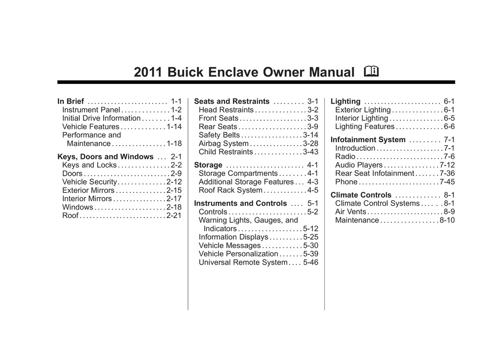 2011 Buick Enclave owners manual