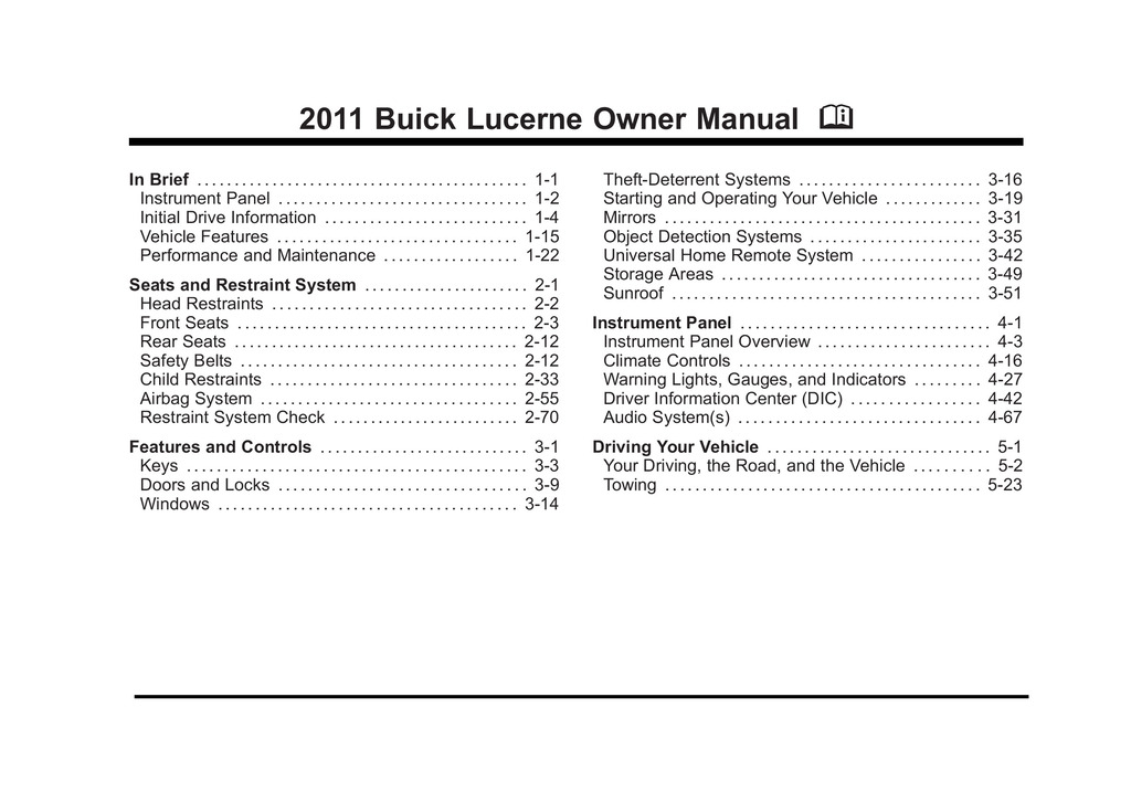 2011 Buick Lucerne owners manual