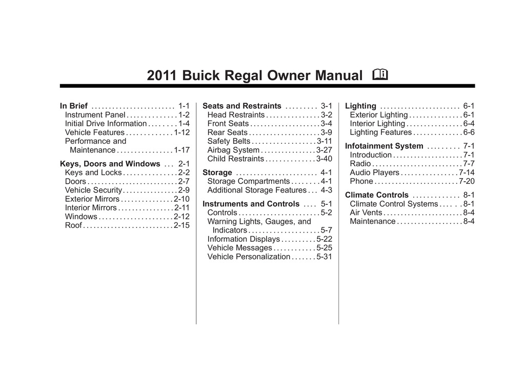 2011 Buick Regal owners manual