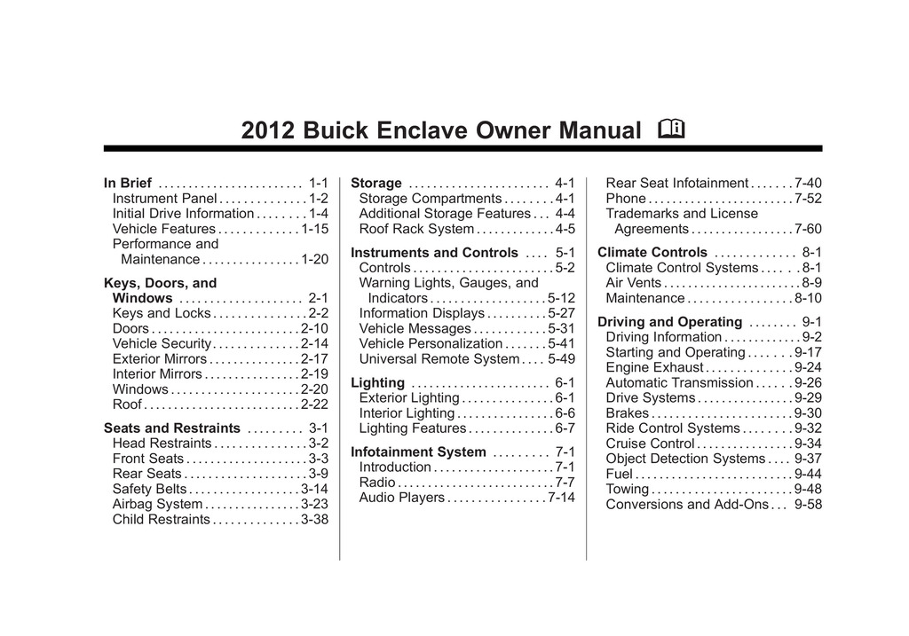 2012 Buick Enclave owners manual