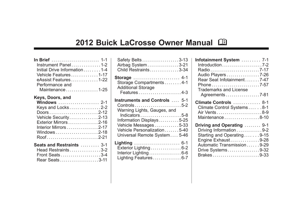 2012 Buick Lacrosse owners manual