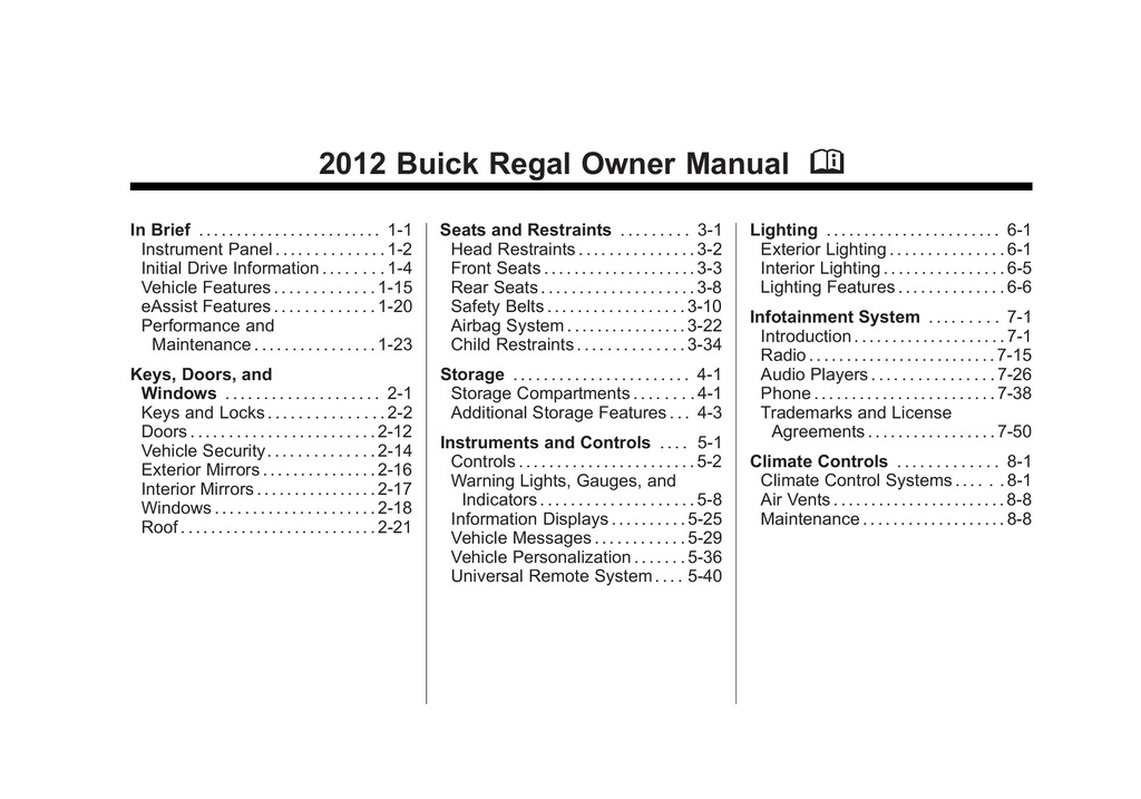 2012 Buick Regal owners manual