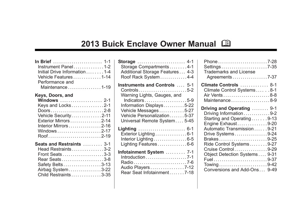 2013 Buick Enclave owners manual