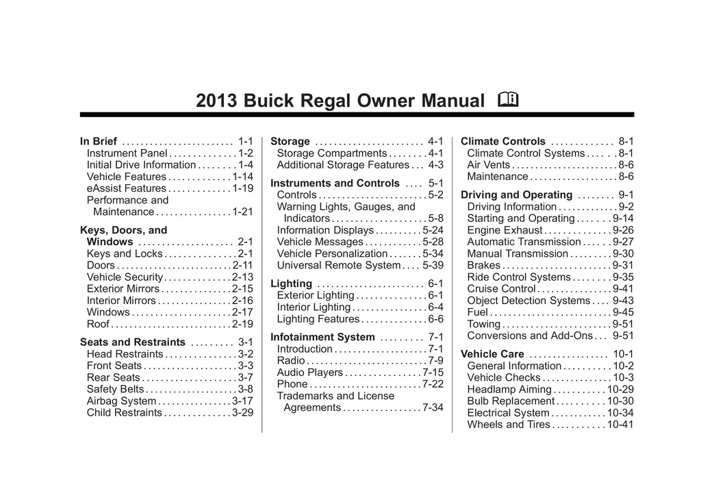 2013 Buick Regal owners manual