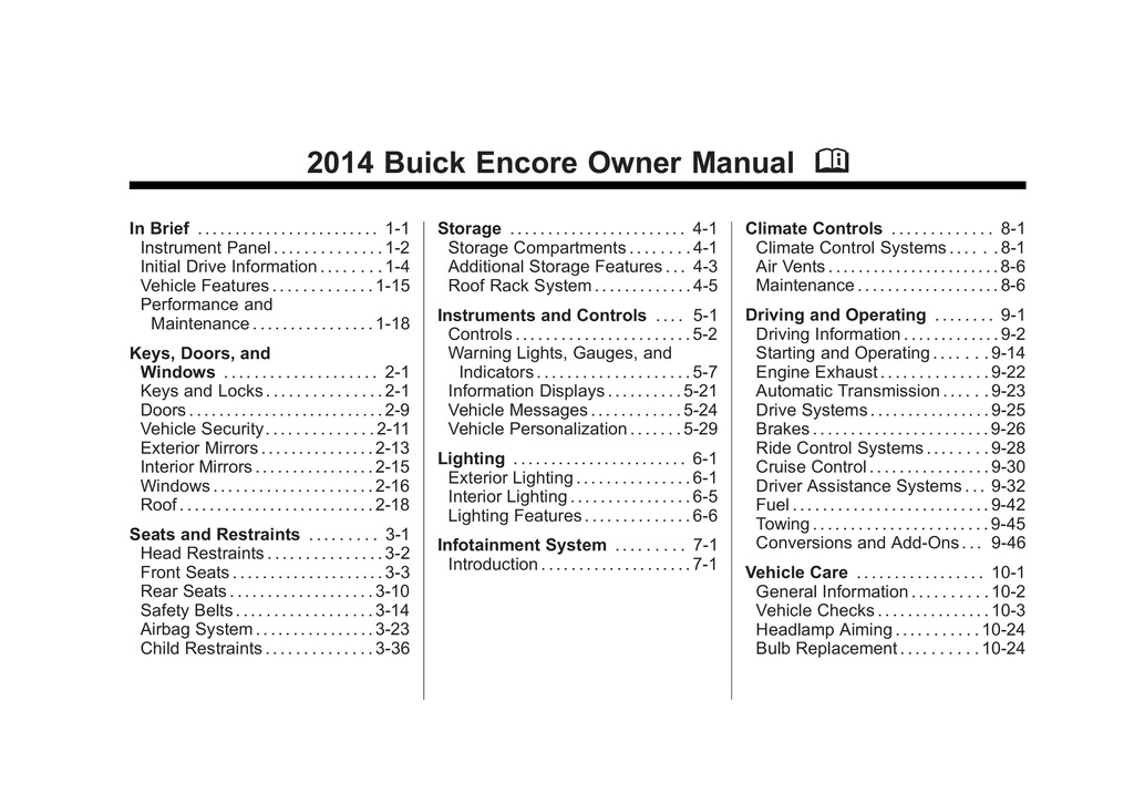 2014 Buick Encore owners manual