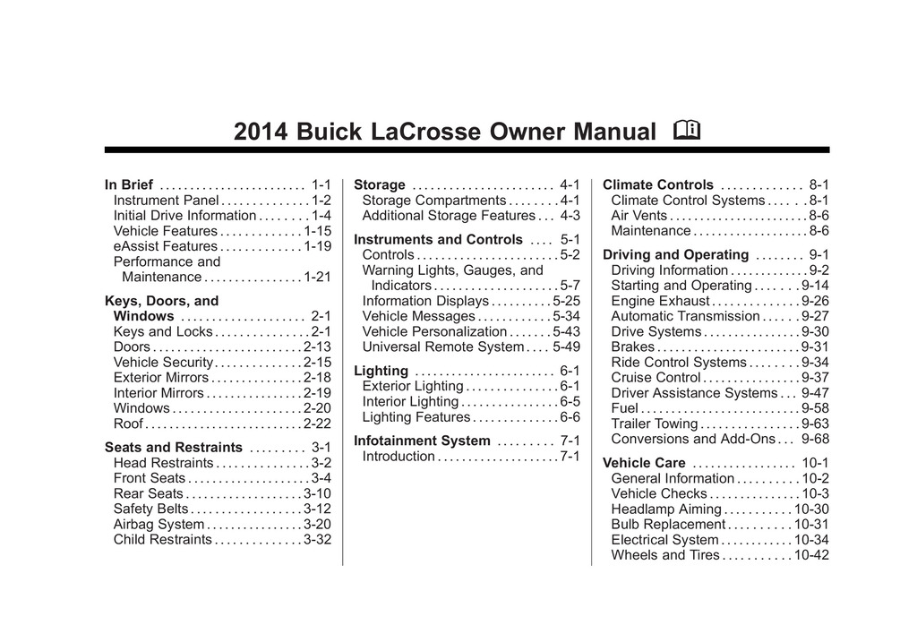 2014 Buick Lacrosse owners manual