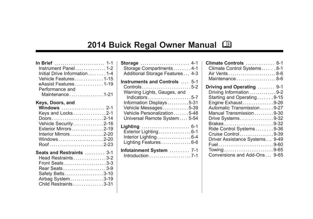2014 Buick Regal owners manual
