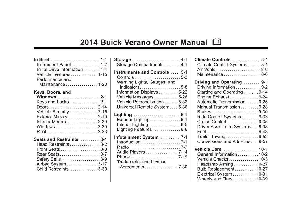 2014 Buick Verano owners manual