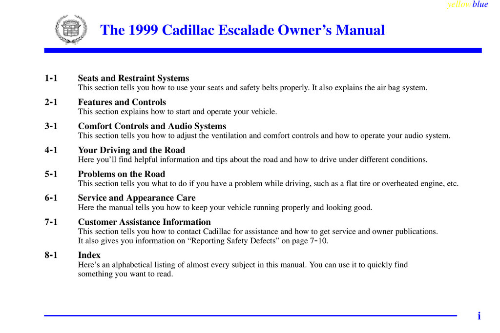 1999 Cadillac Escalade owners manual