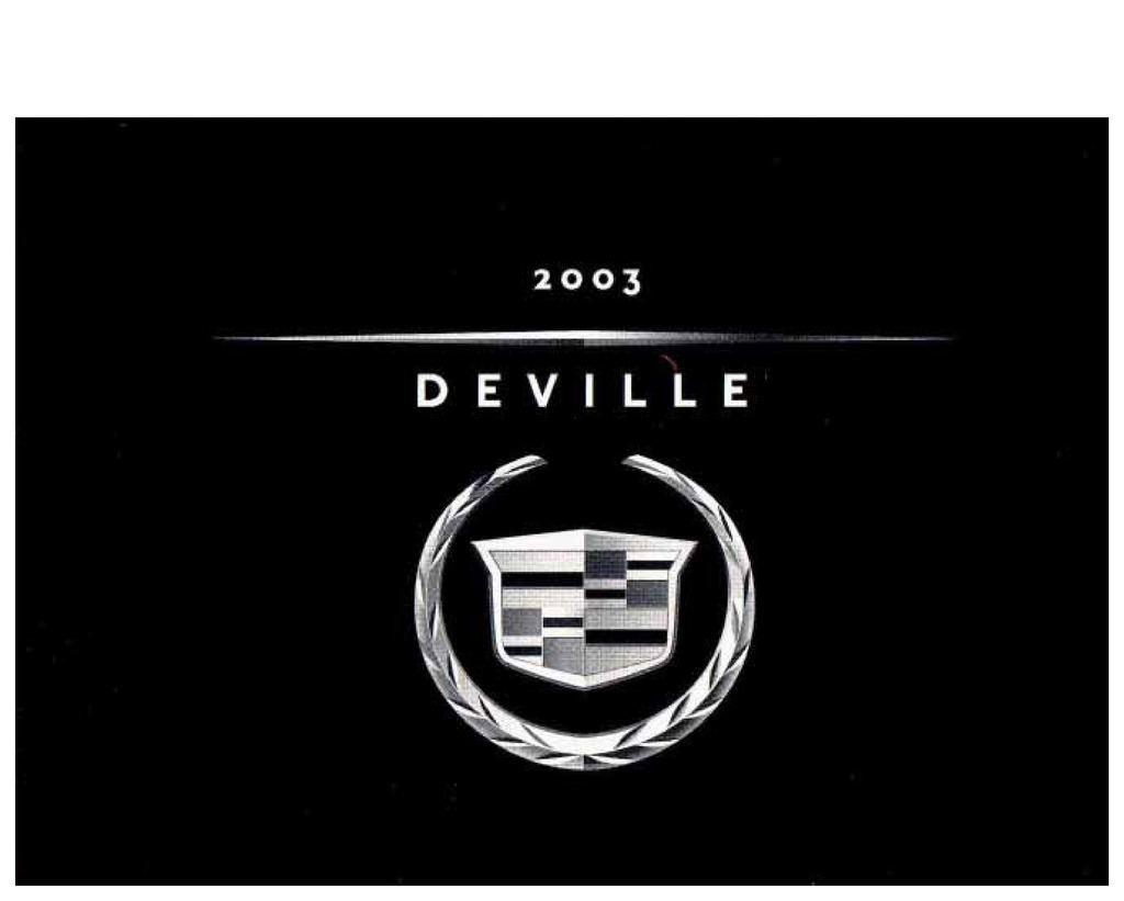 2003 Cadillac Deville owners manual