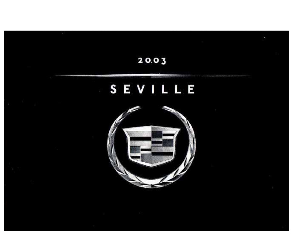 2003 Cadillac Seville owners manual