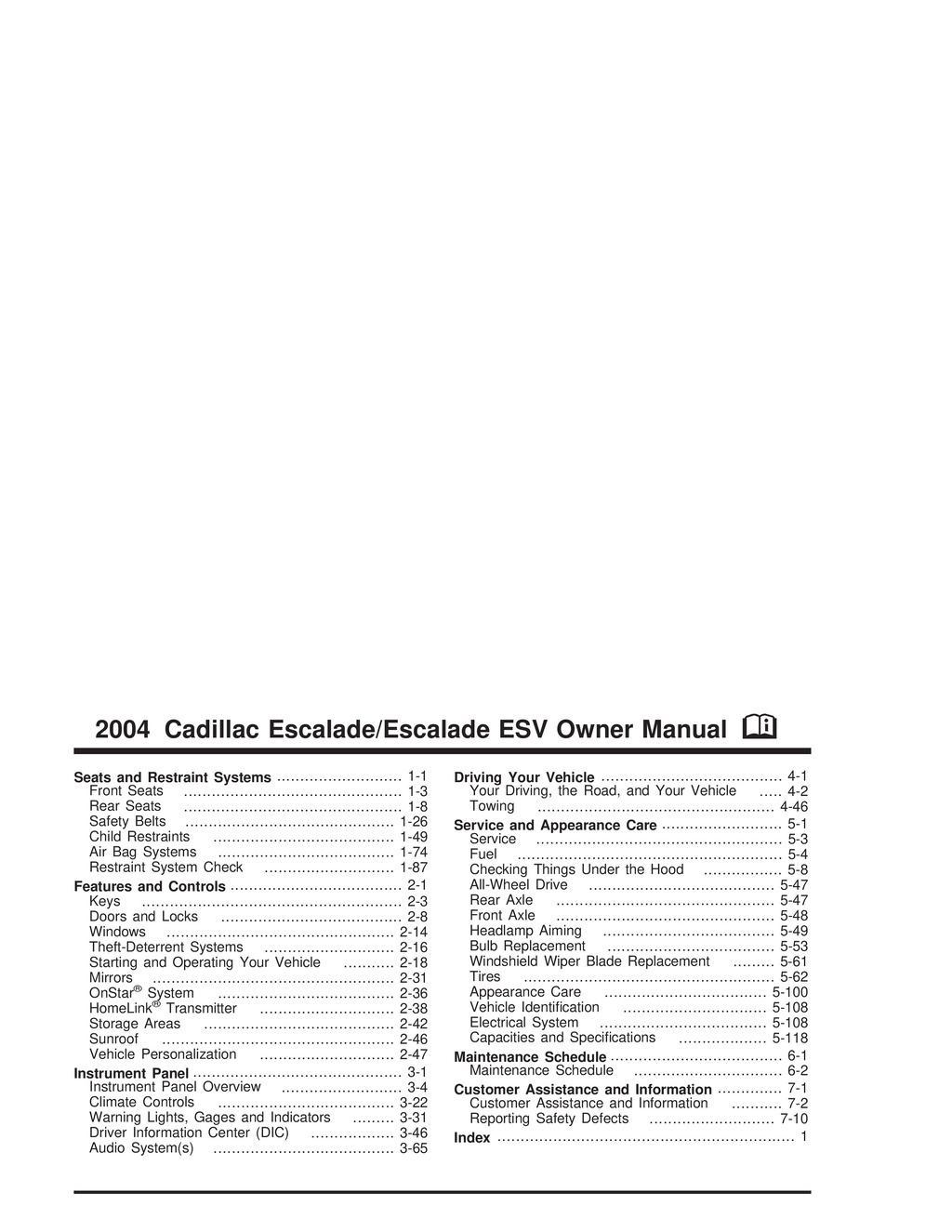 2004 Cadillac Escalade owners manual