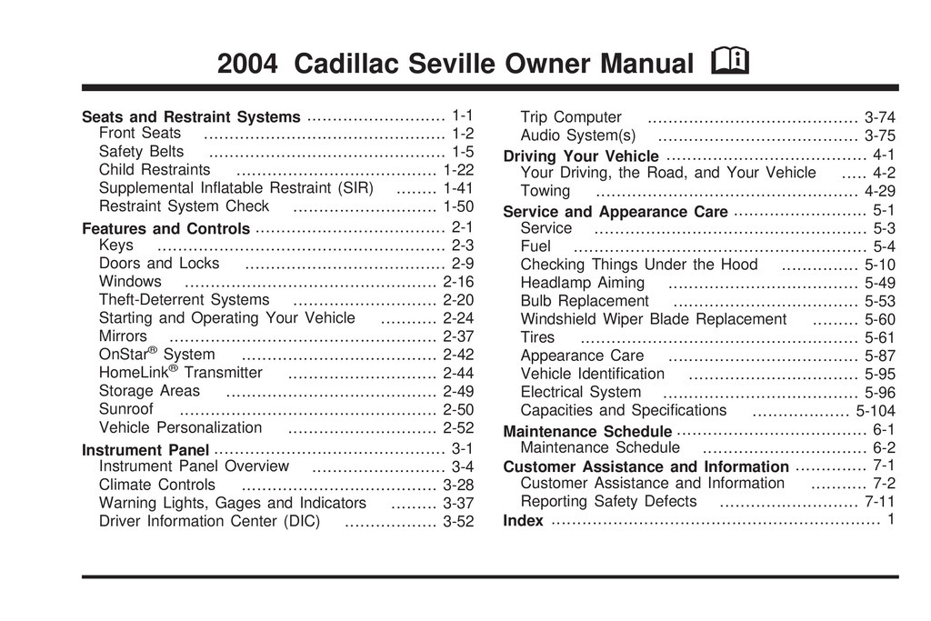2004 Cadillac Seville owners manual