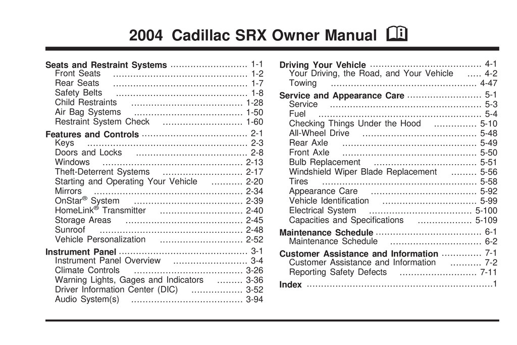 2004 Cadillac Srx owners manual
