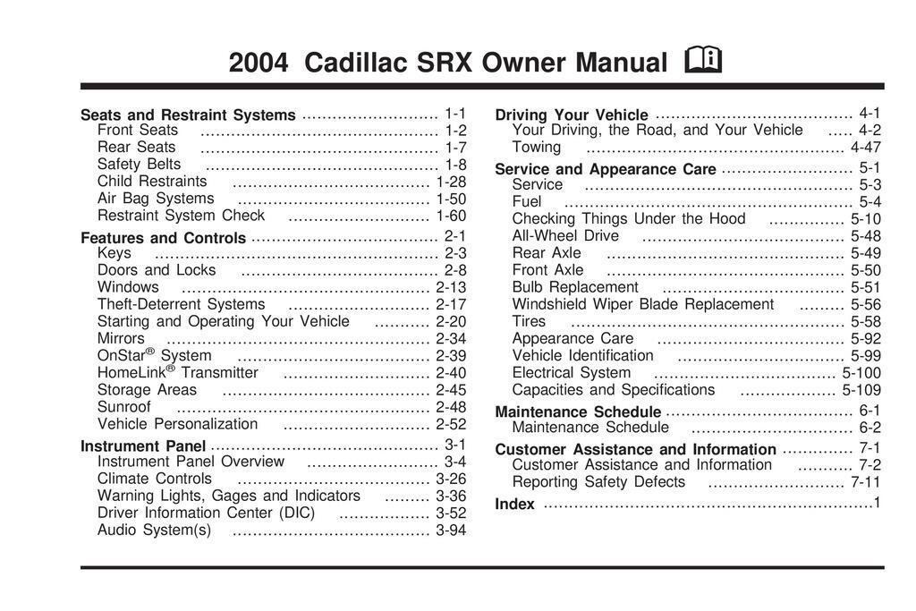 2004 Cadillac Srx owners manual