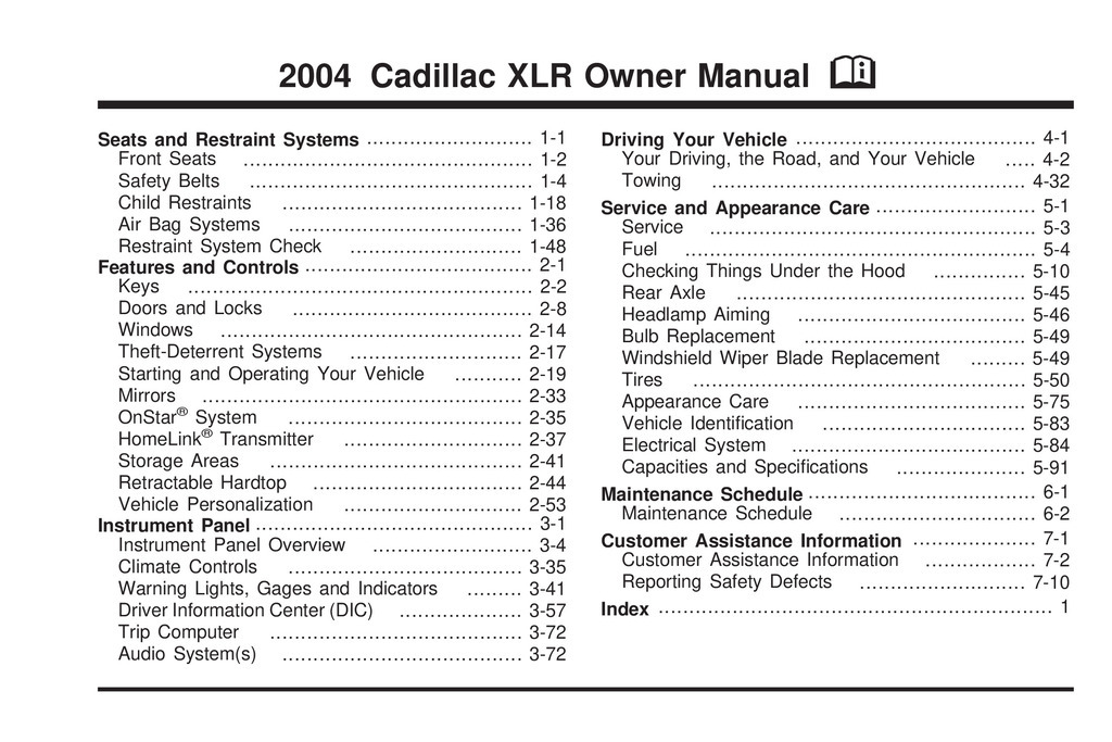 2004 Cadillac Xlr owners manual