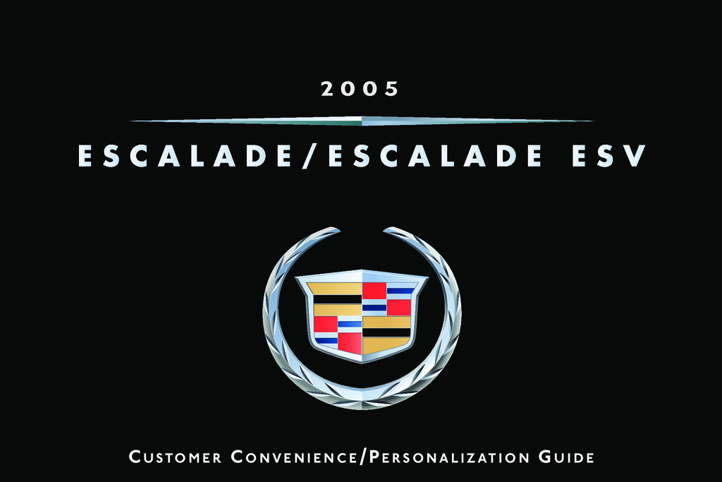 2005 Cadillac Escalade owners manual