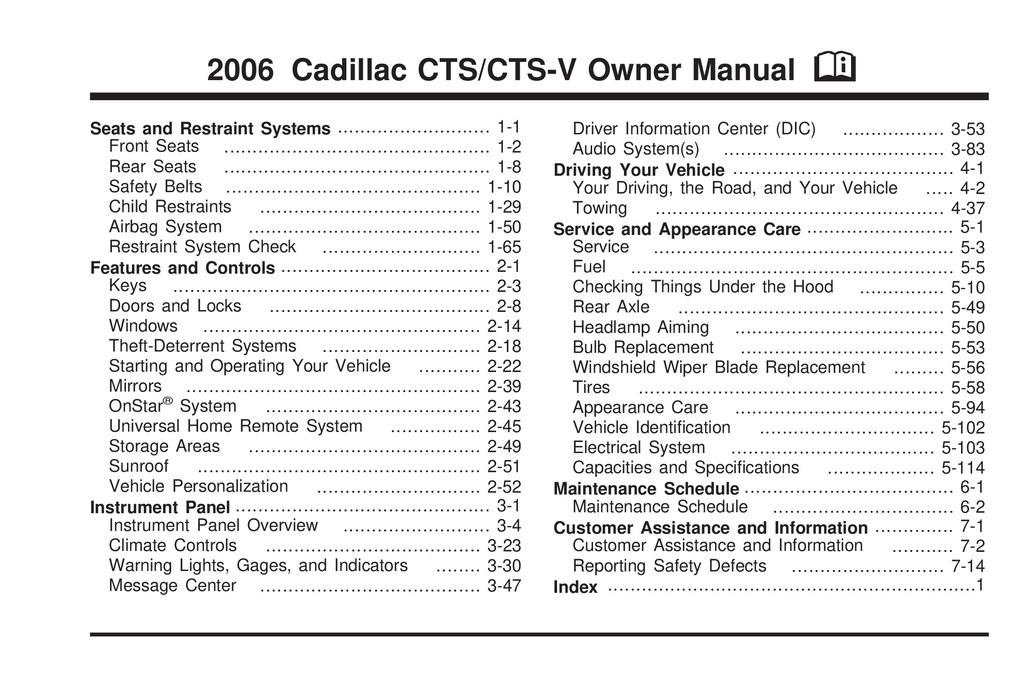 2006 Cadillac Cts owners manual