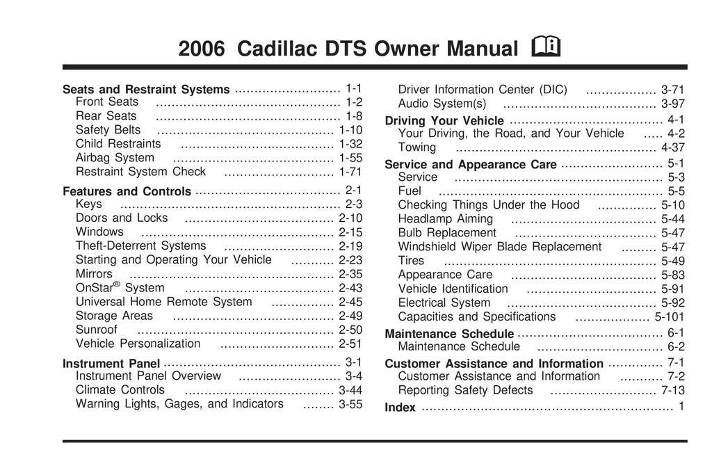 2006 Cadillac Dts owners manual