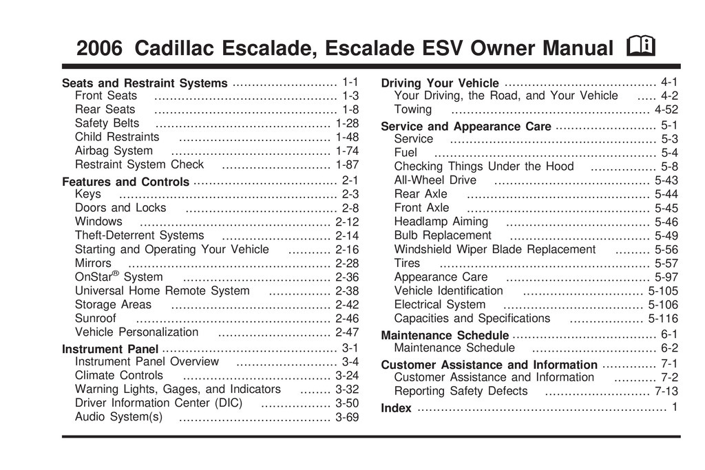 2006 Cadillac Escalade owners manual