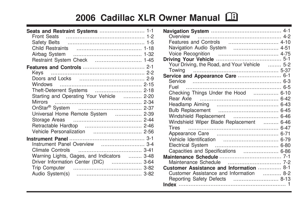 2006 Cadillac Xlr owners manual