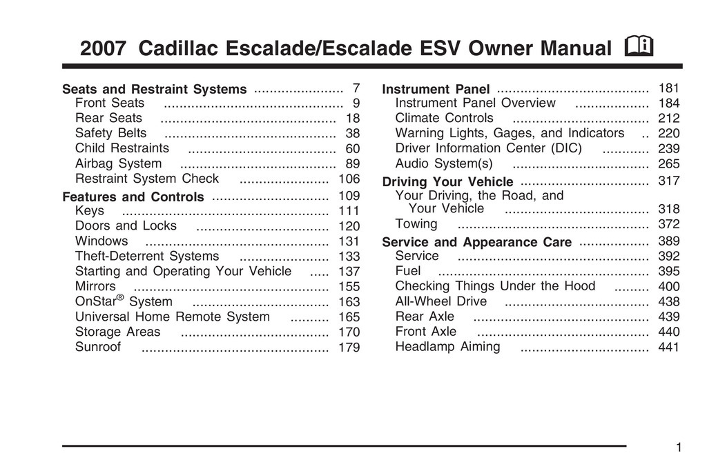 2007 Cadillac Escalade Esv owners manual