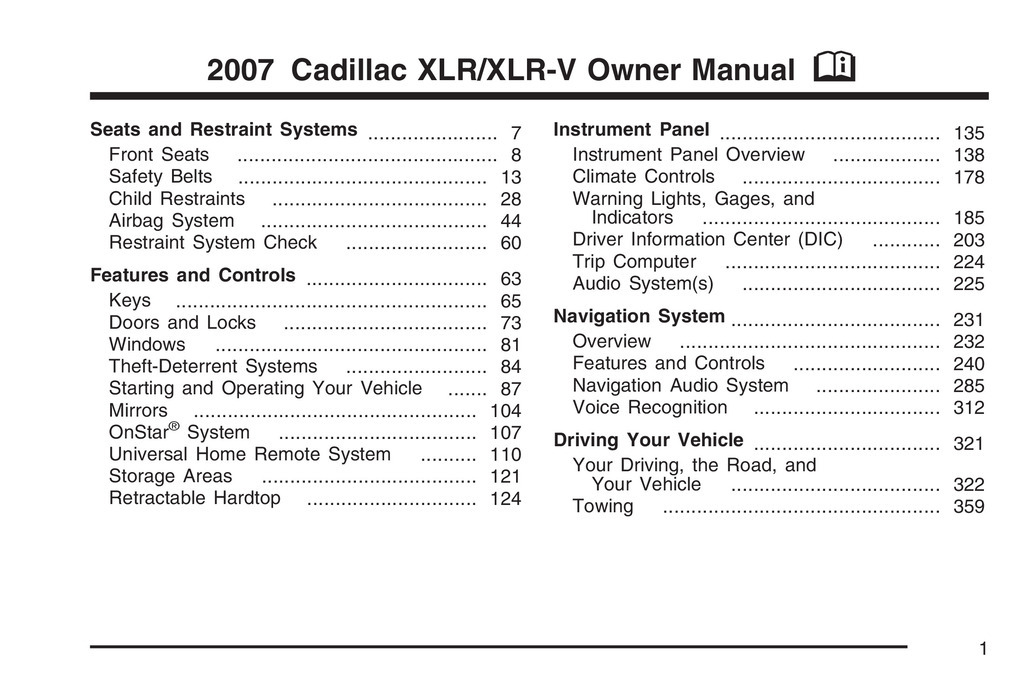 2007 Cadillac Xlr owners manual