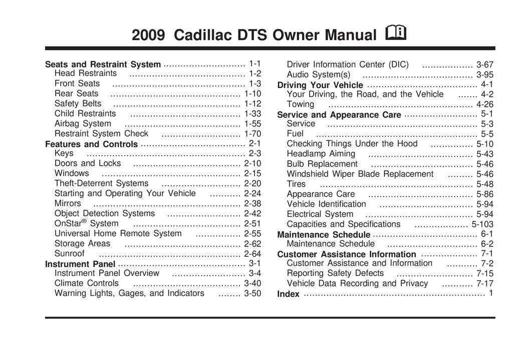 2009 Cadillac Dts owners manual