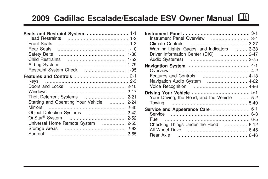 2009 Cadillac Escalade owners manual